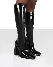 Public Desire UK CARYN WIDE FIT BLACK PU KNEE HIGH HEELED BOOTS - US 6