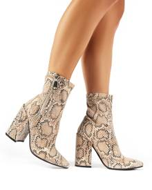 Public Desire Renzo Sock Fit Ankle Boots in Snake Print