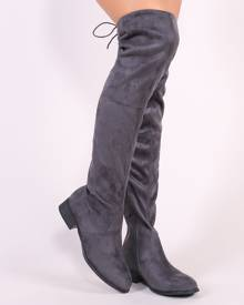 58e2cb50475e Public Desire Joy Over the Knee Boots in Grey Faux Suede
