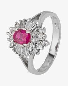 Pre-Owned 14ct White Gold Ruby and Diamond Cluster Ring 4328036