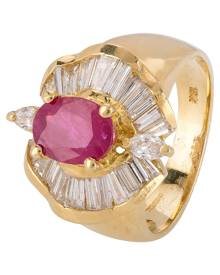 Pre-Owned 18ct Yellow Gold Ruby and Diamond Ballerina Ring 4328258