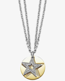 Esprit Gold Plated Stainless Steel CZ Star Disc Necklet ESNL11844B800