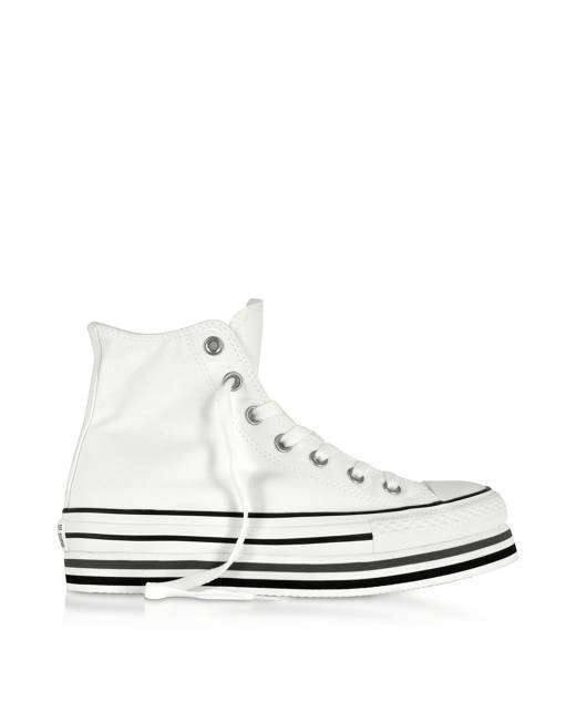 Designer Shoes, Chuck Taylor All Star Platform Layer White Sneakers