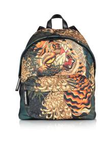 DSquared2 Designer Men's Bags, Men's Multicolor Tiger & Flowers Printed Nylon Backpack