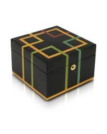 Forzieri Designer Jewelry Boxes, Black Geometric Inlaid Wood Jewelry Box