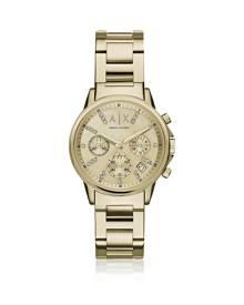 Armani Exchange Designer Women's Watches, Lady Banks Gold Tone Chronograph Women's Watch