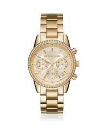 Michael Kors Designer Women's Watches, Ritz Pavé Gold Tone Women's Watch