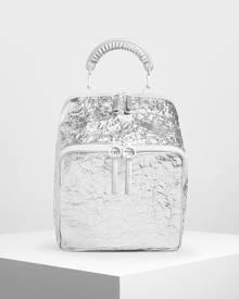 Charleskeith.com Pte. Ltd. Rope Handle Wrinkled Effect Metallic Backpack