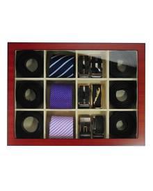 dltradingau Wooden Tie Box for men matt cherry for 12 ties