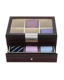 dltradingau Luxury Wooden Tie Box for men matt ebony for 12 ties