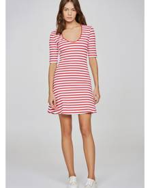 THE FIFTH VOYAGE STRIPE DRESS red w white