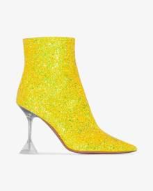 Amina Muaddi Womens Yellow Georgia 95 Glitter Plex Heel Boots