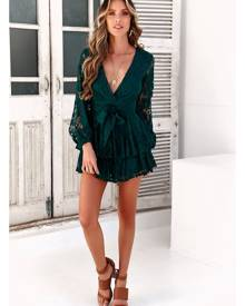 Hello Molly Wake Up To The City of Dreams Romper Forest Green