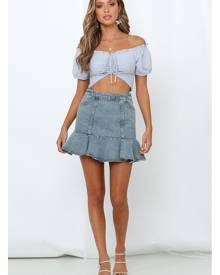 HelloMolly Simple Instructions Skirt Light Blue Denim
