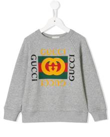 Gucci Kids logo print sweater - Grey