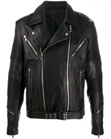 Balmain belted biker jacket - Black