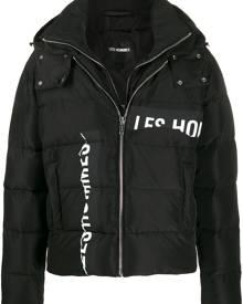 Les Hommes logo print puffer jacket - Black