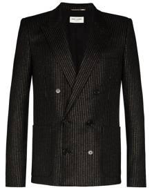 Saint Laurent metallic pinstripe double-breasted blazer - Black