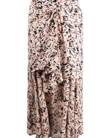Proenza Schouler abstract animal print layered skirt - CORAL/BLACK ABSTRACT ANIMAL