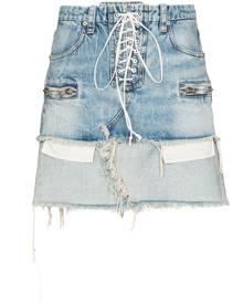 UNRAVEL PROJECT lace-up reverse hem denim skirt - Blue