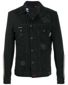 Philipp Plein studded sleeve distressed denim jacket - Black