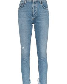 AGOLDE cropped distressed jeans - Blue