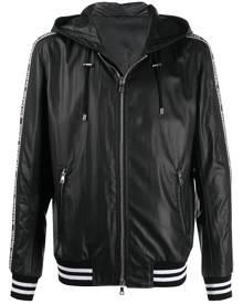 Balmain logo stripe hooded jacket - Black