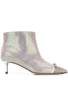 Marco De Vincenzo iridescent studded 55mm leather boots - Pink