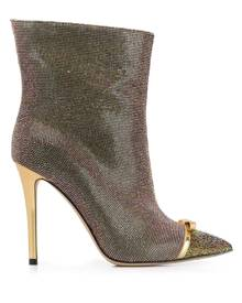 Marco De Vincenzo iridescent studded 100mm leather boots - Gold
