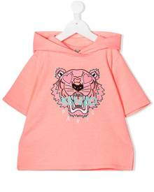 Kenzo Kids tiger embroidered short sleeve hoodie - Pink