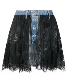 UNRAVEL PROJECT lace overlay denim skirt - Blue