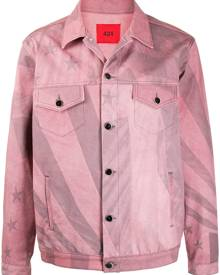 424 flag-print denim jacket - Pink