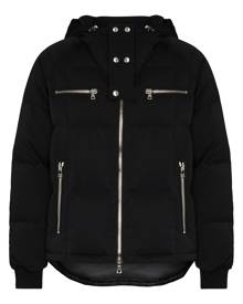 Balmain logo-print hooded puffer jacket - Black