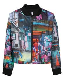 DUOltd graphic-print zipped bomber jacket - Black