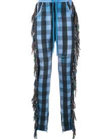 Alchemist fringe-trim checked trousers - Blue