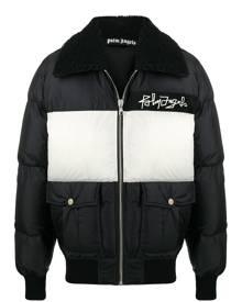Palm Angels logo-print puffer jacket - Black