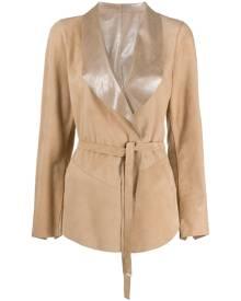 Suprema shawl lapels belted jacket - Brown