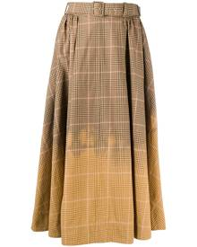 MSGM check gradient midi skirt - Brown