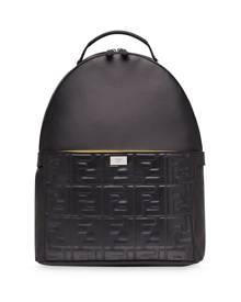 Fendi embossed FF motif panel backpack - Black
