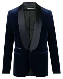 Philipp Plein Elegant velvet-effect blazer - Blue