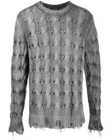 Avant Toi distressed cable knit jumper - Grey