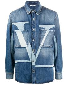 Valentino VLOGO-print denim jacket - Blue