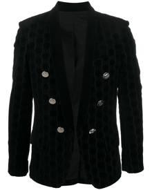 Balmain monogram velvet-effect blazer - Black