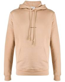 Saint Laurent logo-print hoodie - Brown