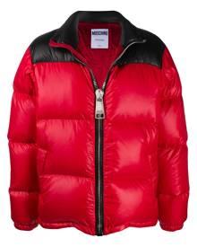 Moschino logo print puffer jacket - Red