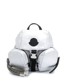 Moncler logo patch detail backpack - Silver