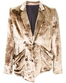 sulvam deconstructed velvet blazer - Brown