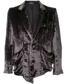 sulvam velvet single-breasted blazer - Grey
