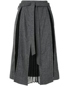 Rokh pleated-insert midi-skirt - Grey