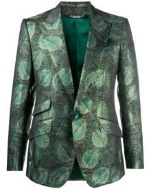 Dolce & Gabbana feather jacquard single-breasted blazer - Green